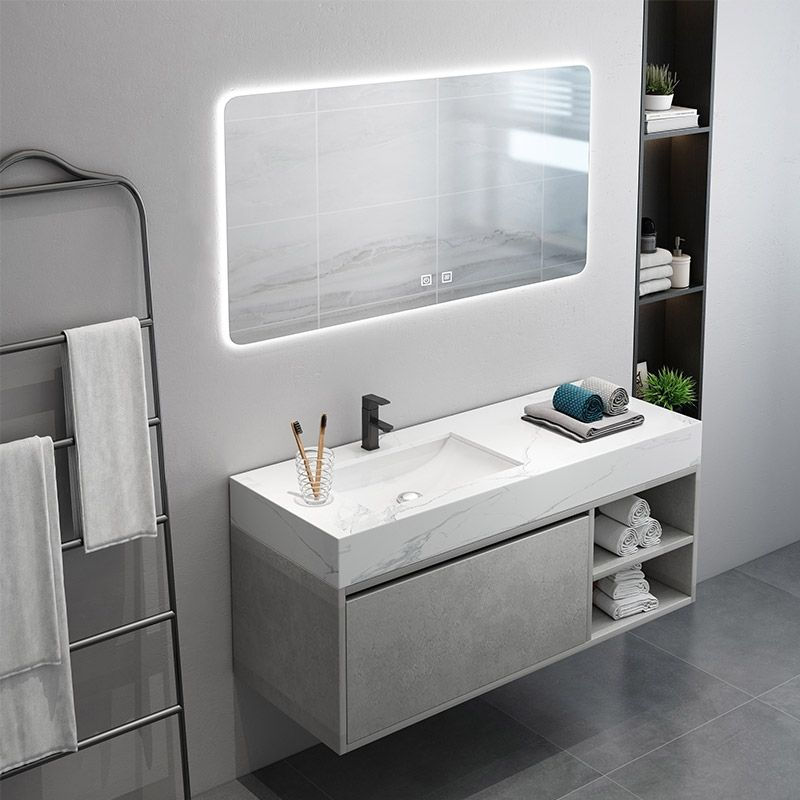 35 Floating Bathroom Vanity With Top Wall Mounted Vanity Cabinet Single Sink Vanity With Drawer Undermount