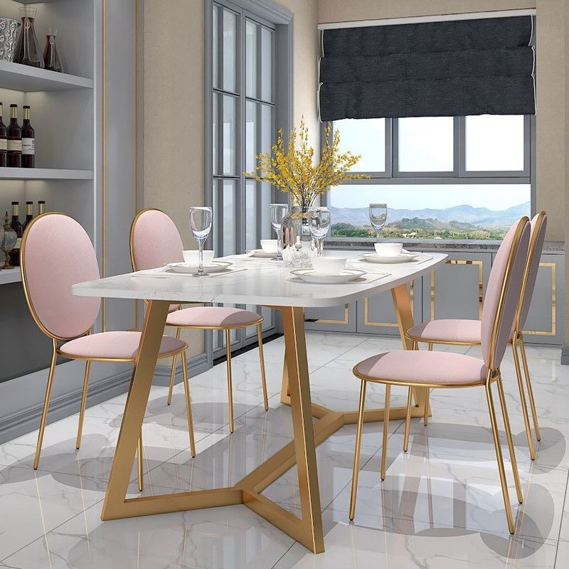 Modern Stylish Design Rectangular Large Dining Table In Gold With White Faux Marble Top