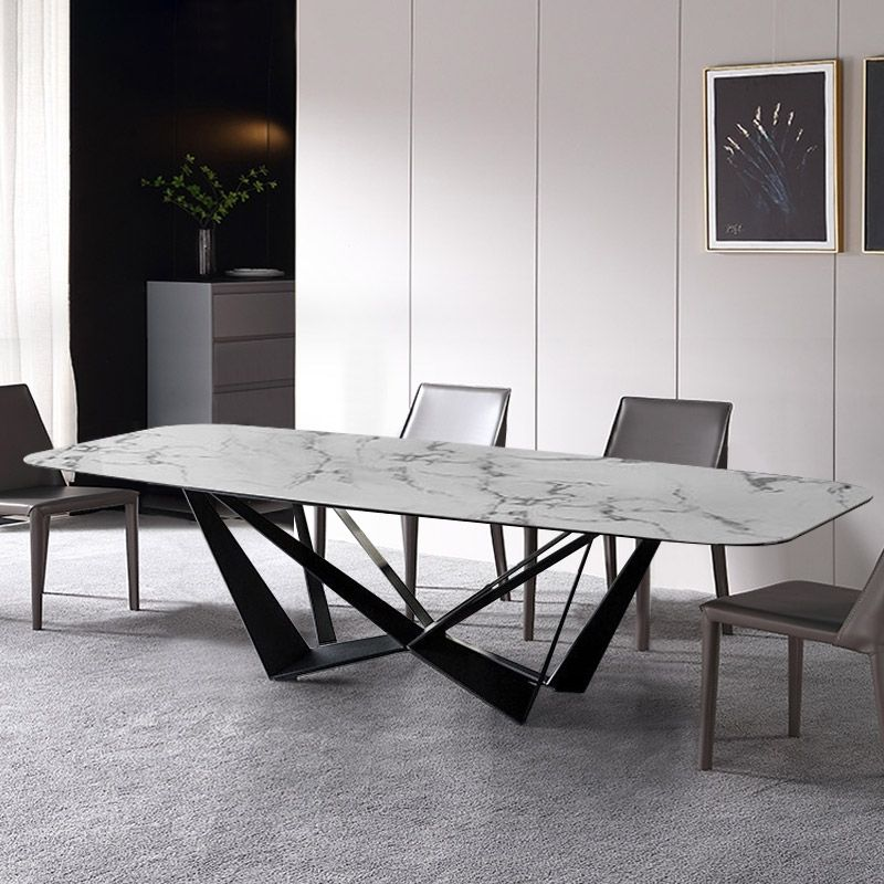Modern Stylish 63 Rectangle White Faux Marble Top Dining Table With Black Metal Base In Small