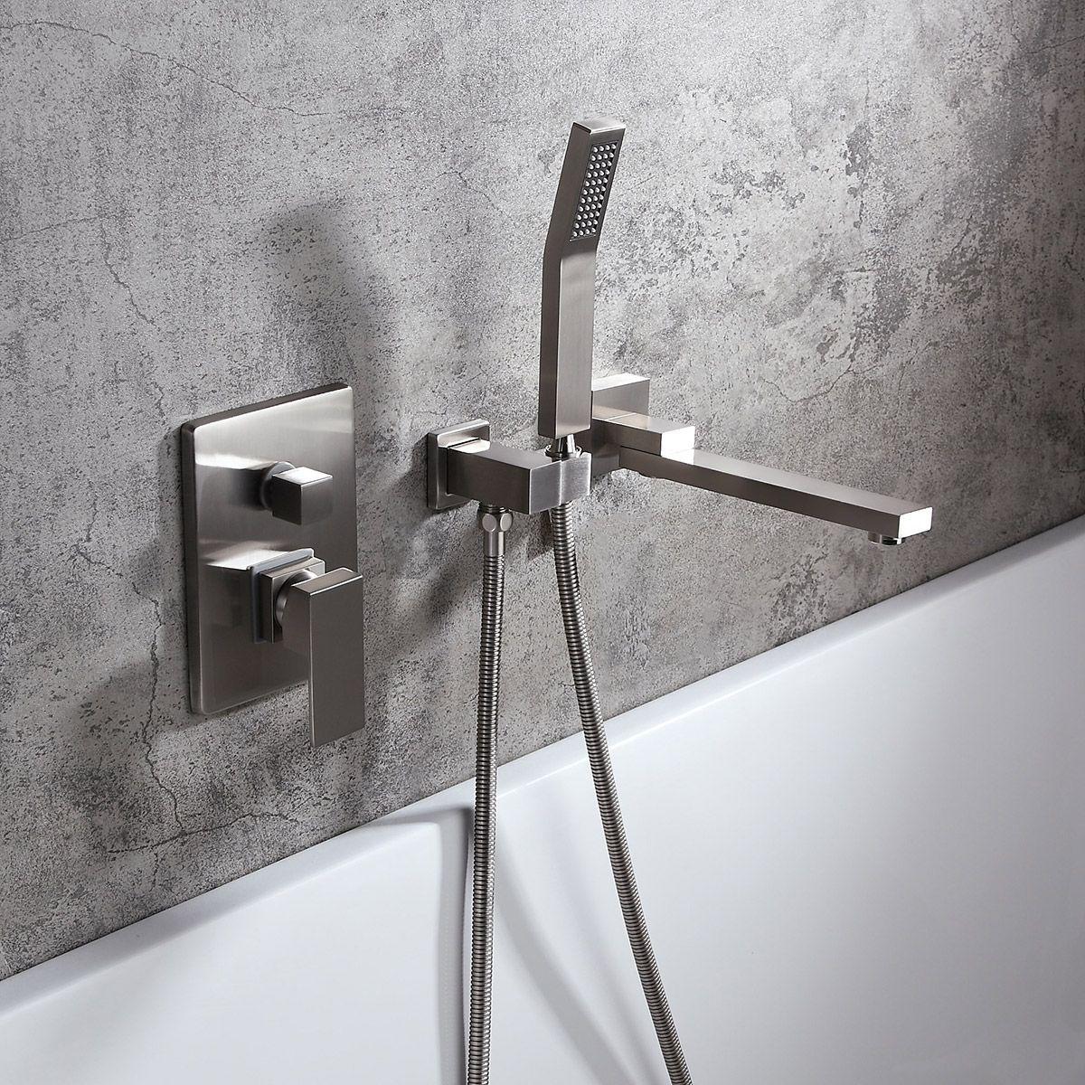 Modern Wall Mounted Brushed Swivel Bathtub Faucet/&Handheld Tub Shower Tap Brass