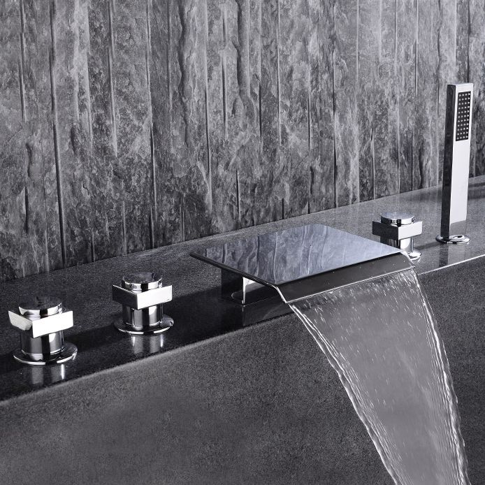 Contemporary Waterfall Deck Mount Roman Tub Faucet With Handshower In Chrome