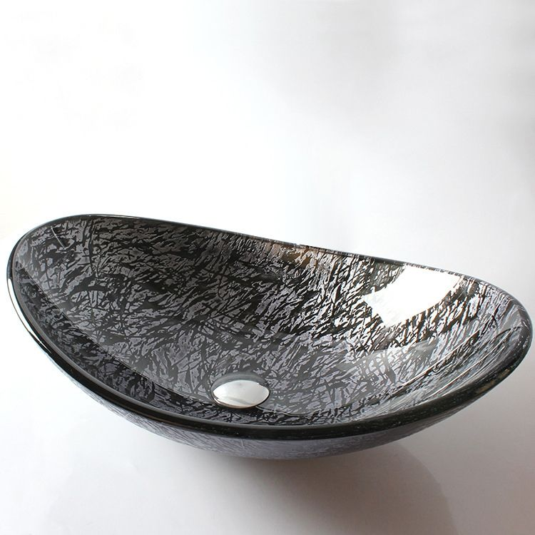 Modern Oval Shaped Tempered Glass Vessel Bathroom Basin In Black Silver
