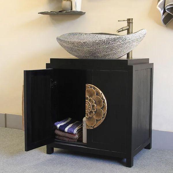 28 Single Vessel Sink Vanity Carved Bathroom Vanity Combo Solid Wood Resin