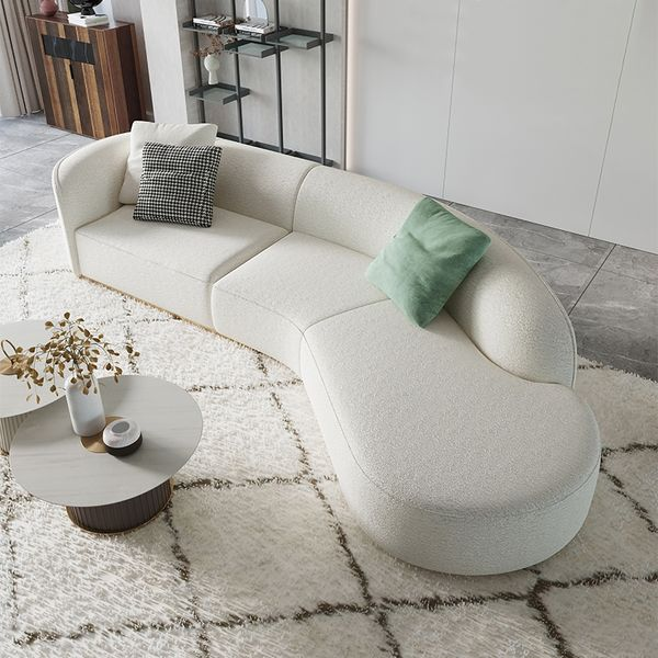 134 Curved White Sectional Sofa, Faux Leather Curved Sectional Sofa
