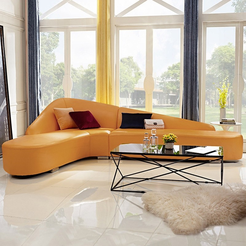 Modern Faux Leather Sectional Sofa, Fake Leather Curved Sectional Sofa