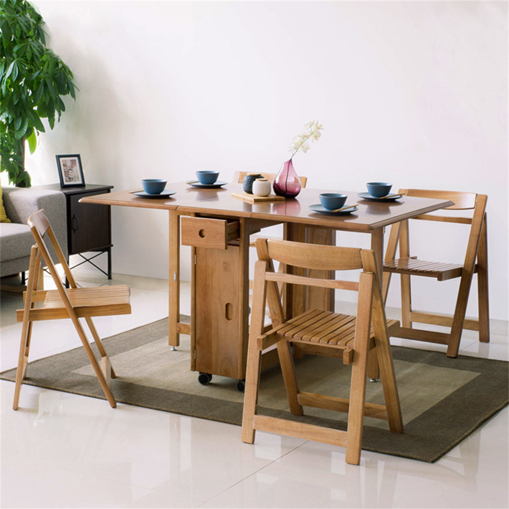 Solid Wood Folding Dining Table Set, Wooden Folding Dining Room Chairs